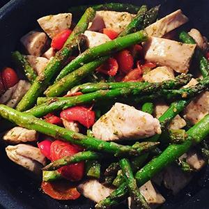 One Pan Pesto Chicken and Veggies